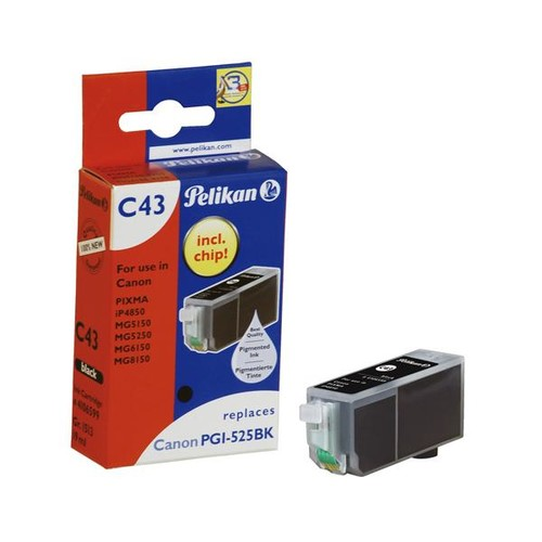 Tintenpatrone Gr. 1513 (PGI-525BK) für Pixma IP4850/MG5150 19ml pigment schwarz Pelikan 4106599 Produktbild Front View L