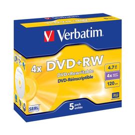DVD+RW 4fach Jewel Case 4,7GB/120Min. Verbatim 43229 (PACK=5 STÜCK) Produktbild