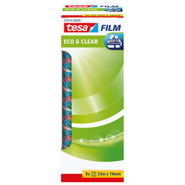 Klebefilm Eco & Clear 19mm x 33m transparent klar Tesa 57074-00000-00 (PACK=8 ROLLEN) Produktbild