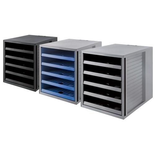 Schubladenbox Öko 5 Schübe offen 275x320x330mm Gehäuse grau Schübe blau Kunststoff HAN 14018-16 Produktbild Additional View 1 L