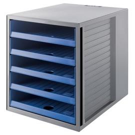 Schubladenbox Öko 5 Schübe offen 275x320x330mm Gehäuse grau Schübe blau Kunststoff HAN 14018-16 Produktbild