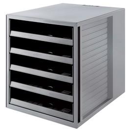 Schubladenbox Öko 5 Schübe offen 275x320x330mm Gehäuse grau Schübe grau Kunststoff HAN 14018-18 Produktbild