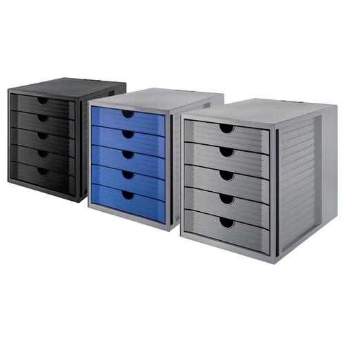 Schubladenbox Öko 5 Schübe 275x320x330mm Gehäuse grau Schübe blau Kunststoff HAN 14508-16 Produktbild Additional View 2 L