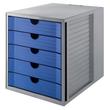 Schubladenbox Öko 5 Schübe 275x320x330mm Gehäuse grau Schübe blau Kunststoff HAN 14508-16 Produktbild