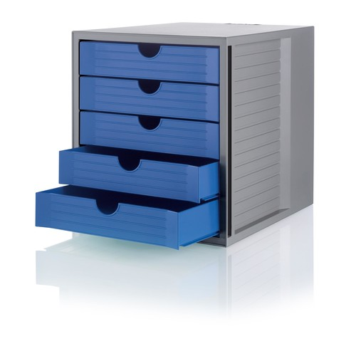 Schubladenbox Öko 5 Schübe 275x320x330mm Gehäuse grau Schübe blau Kunststoff HAN 14508-16 Produktbild Additional View 1 L