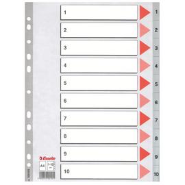 Register A4 225x297mm Zahlen 1-10 grau Plastik Esselte 100105 Produktbild