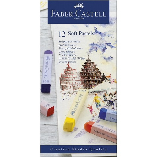 Soft-Pastellkreiden STUDIO Kartonetui farbig sortiert Faber Castell 128312 (ETUI=12 STÜCK) Produktbild Front View L