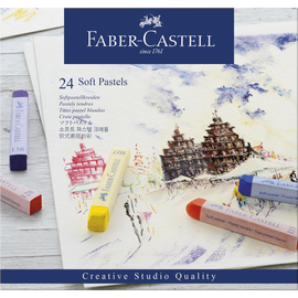 Soft-Pastellkreiden STUDIO Kartonetui farbig sortiert Faber Castell 128324 (ETUI=24 STÜCK) Produktbild