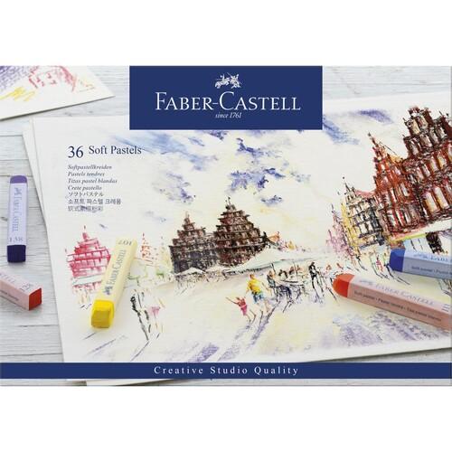 Soft-Pastellkreiden STUDIO Kartonetui farbig sortiert Faber Castell 128336 (ETUI=36 STÜCK) Produktbild Front View L