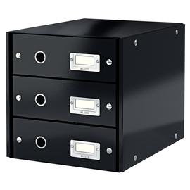 Schubladenbox Click&Store 3 Schübe 290x283x360mm schwarz Hartpappe Leitz 6048-00-95 Produktbild
