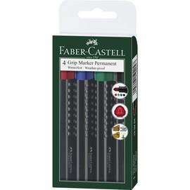 Permanentmarker Grip Permanent Etui Rundspitze sortiert Faber Castell 150404 (PACK=4 STÜCK) Produktbild