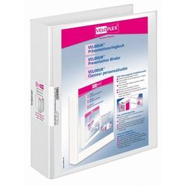 Präsentationsringbuch Velodur mit Sichttaschen A4 Überbreite 2Ringe Ringe-Ø40mm weiß PP Veloflex 1141190 Produktbild