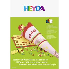 Bastelmappe Zahlen und Buchstaben vorgestanzt auf Fotokarton 23x33cm 300g farbig sortiert Heyda 20-4872504 (PACK=6 STÜCK) Produktbild