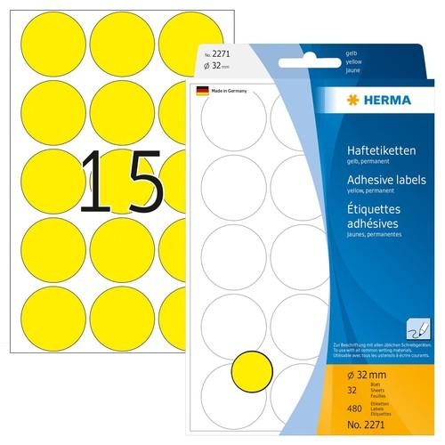 Markierungspunkte 32mm ø gelb Herma 2271 (PACK=480 STÜCK) Produktbild