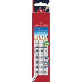 Farbstifte GRIP Heft & Tafel dreikant Kartonetui sortiert Faber Castell 113210 (ETUI=6 STÜCK) Produktbild