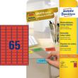 Etiketten Inkjet+Laser+Kopier 38,1x21,2mm auf A4 Bögen rot wiederablösbar Zweckform L4790-20 (PACK=1300 STÜCK) Produktbild