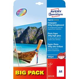 Fotopapier Inkjet Superior A4 200g weiß high-glossy Zweckform 2572-50 (PACK=50 BLATT) Produktbild