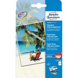 Fotopapier Inkjet Superior 10x15cm 230g weiß high-glossy Zweckform C2497-50 (PACK=50 BLATT) Produktbild