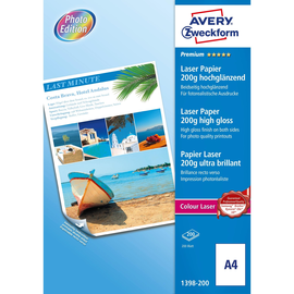Fotopapier Laser+Kopier Premium Colour A4 200g weiß beidseitig high-glossy Zweckform 1398-200 (PACK=200 BLATT) Produktbild