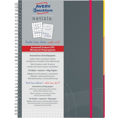 Spiralnotizbuch NOTIZIO MEDIUM A5 kariert 90Blatt grau Kunststoff-Cover Zweckform 7015 Produktbild Additional View 1 L