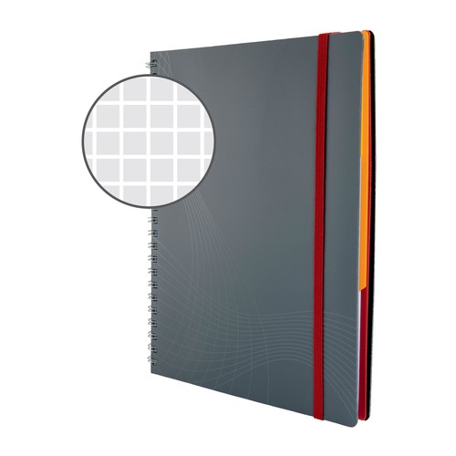 Spiralnotizbuch NOTIZIO MEDIUM A5 kariert 90Blatt grau Kunststoff-Cover Zweckform 7015 Produktbild Additional View 3 L