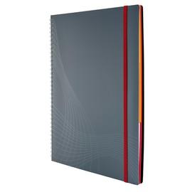 Spiralnotizbuch NOTIZIO MEDIUM A4 kariert 90Blatt grau Kunststoff-Cover Zweckform 7017 Produktbild
