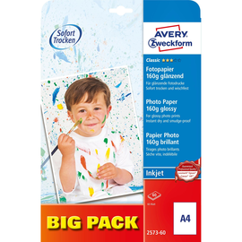 Fotopapier Inkjet Classic A4 160g weiß glossy Zweckform 2573-60 (PACK=60 BLATT) Produktbild