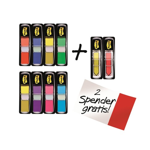 Haftstreifen Post-it Index Mini 11,9x43,2mm 7 Leuchtfarben transparent 3M 683-VAD1 (PACK=10x 35 STÜCK) Produktbild