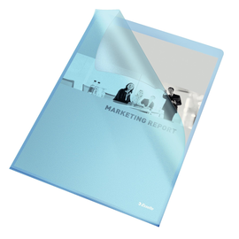 Sichthüllen oben + rechts offen A4 120my blau PP genarbt Esselte 54837 (PACK=100 STÜCK) Produktbild