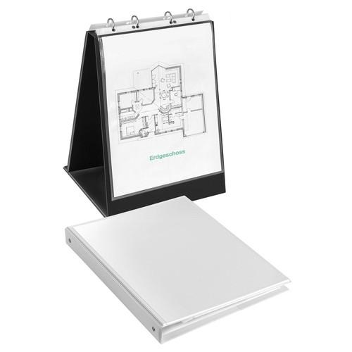 Tisch-Flip-Chart Aufstellringbuch mit 10 Hüllen A4 hoch 4Ringe Ringe-Ø20mm schwarz PVC Veloflex 4102080 Produktbild Additional View 1 L