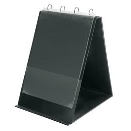 Tisch-Flip-Chart Aufstellringbuch mit 10 Hüllen A3 hoch 4Ringe Ringe-Ø30 schwarz PVC mit Ledernarbung Veloflex 4133280 Produktbild
