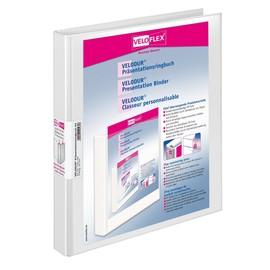 Präsentationsringbuch Velodur mit Sichttaschen A4 Überbreite 2Ringe Ringe-Ø16mm weiß PP Veloflex 1144190 Produktbild