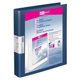 Präsentationsringbuch Velodur mit Sichttaschen A4 Überbreite 2Ringe Ringe-Ø25mm blau PP Veloflex 1143150 Produktbild