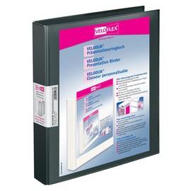 Präsentationsringbuch Velodur mit Sichttaschen A4 Überbreite 2Ringe Ringe-Ø25mm schwarz PP Veloflex 1143180 Produktbild