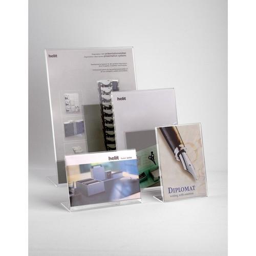 Tischaufsteller L 150x47x106mm quer Acryl Helit H2354502 Produktbild Additional View 1 L