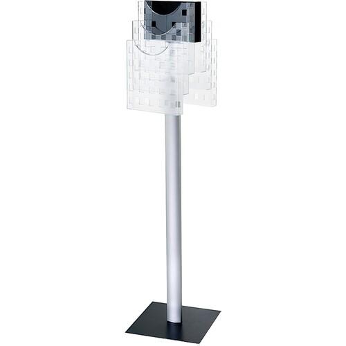 Boden-Prospektständer 310x310x1265mm 6 Fächer drehbar Aluminiumfuß Helit H6813802 Produktbild Front View L