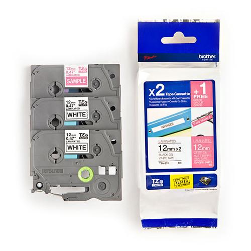 Schriftband Multipack laminiert 12mm/8m Multipack sortiert Brother TZe32M3 (PACK=2 STÜCK à 8 METER + 1 STÜCK à 2 METER GRATIS) Produktbild Front View L