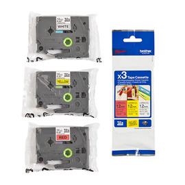 Schriftband Multipack laminiert 12mm/8m Multipack sortiert Brother TZe31M3 (PACK=3 STÜCK à 8 METER) Produktbild