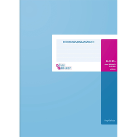Rechnungsausgangsbuch A4 40Blatt blau hochglänzlackierte Deckelpappe mit Strukturprägung König & Ebhardt 86-10694 Produktbild