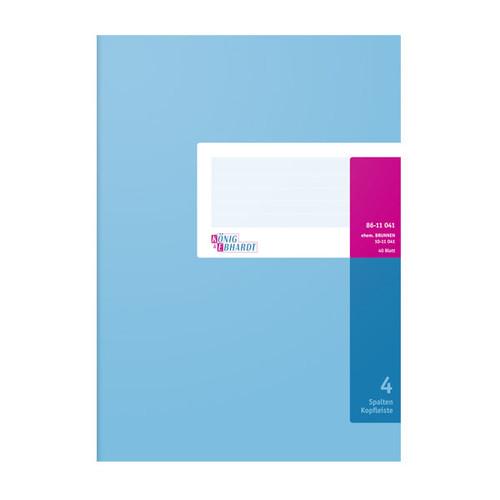 Spaltenbuch 4Spalten mit Kopfleiste A4 40Blatt hellblau/magenta hochglanz Karton  König & Ebhardt 86-11041 Produktbild