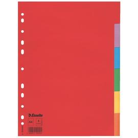 Register Blanko A4 225x297mm 6-Teilig farbig Karton Esselte 100200 Produktbild