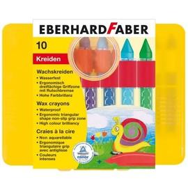 Wachsmalkreiden mit Schiebehülse ergonomischer Griff Kunststoffbox sortiert wasserfest E.Faber 521010 (ETUI=10 STÜCK) Produktbild