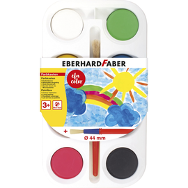 Malkasten mit 8 Farbtabletten Ø 44mm + 1 Pinsel Eberhard Faber 577008 Produktbild