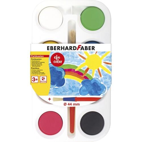 Malkasten mit 8 Farbtabletten Ø 44mm + 1 Pinsel Eberhard Faber 577008 Produktbild Front View L