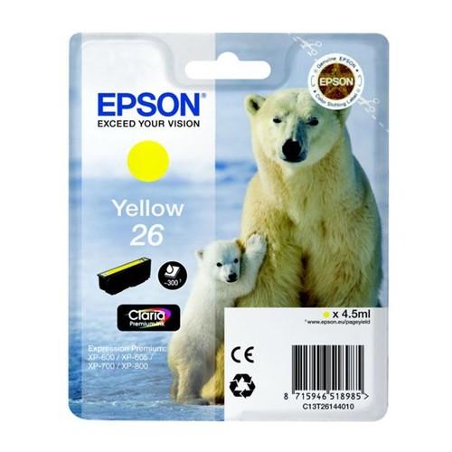 Tintenpatrone 26 für Epson Expression Premium XP-600 4,5ml yellow Epson T261440 Produktbild Front View L