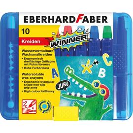 Wachsmalkreiden mit Schiebehülse ergonomischer Griff Kunststoffbox sortiert wasserlöslich E.Faber 521110 (ETUI=10 STÜCK) Produktbild