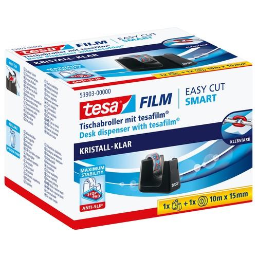 Tischabroller Smart + 1Rolle Tesafilm füllbar bis 19mm x 33m schwarz Tesa 53903-00000-00 Produktbild Additional View 1 L