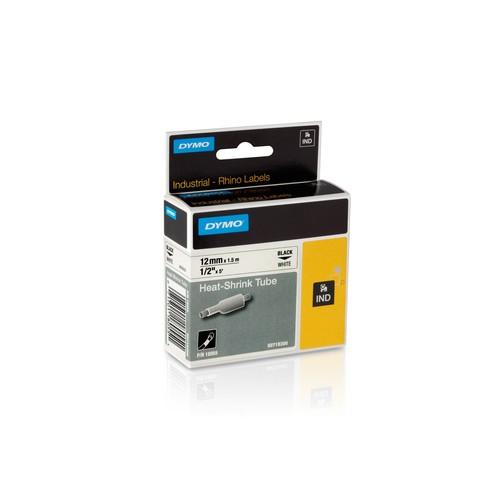 Heißschrumpfschlauch Rhino 12mm x 1,5m schwarz auf weiß Dymo 18055 (ST=1,5 METER) Produktbild Front View L