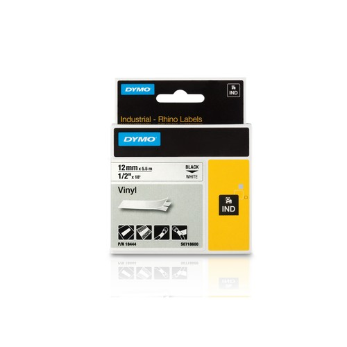Schriftband IND Rhino 12mm/5,5m schwarz auf weiß Vinyl Dymo 18444 (ST=5,5 METER) Produktbild Front View L