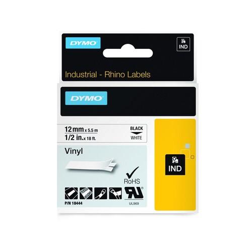 Schriftband IND Rhino 12mm/5,5m schwarz auf weiß Vinyl Dymo 18444 (ST=5,5 METER) Produktbild Additional View 1 L